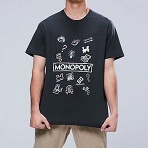 Uniqlo Monopoly Graphic Gray White T-Shirt Tee Top